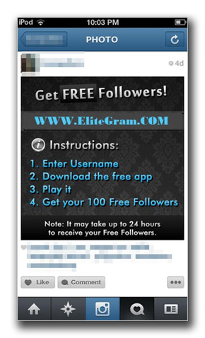 Instagram ��ɓ��e���ꂽ�uGet Free Followers!�v�̎ʐ^